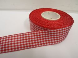 Red 2 metres or full roll x 25mm Gingham Ribbon Double Sided check UK